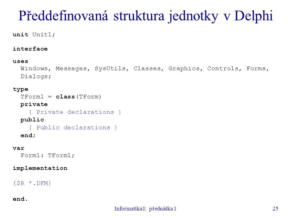Předdefinovaná struktura jednotky v Delphi