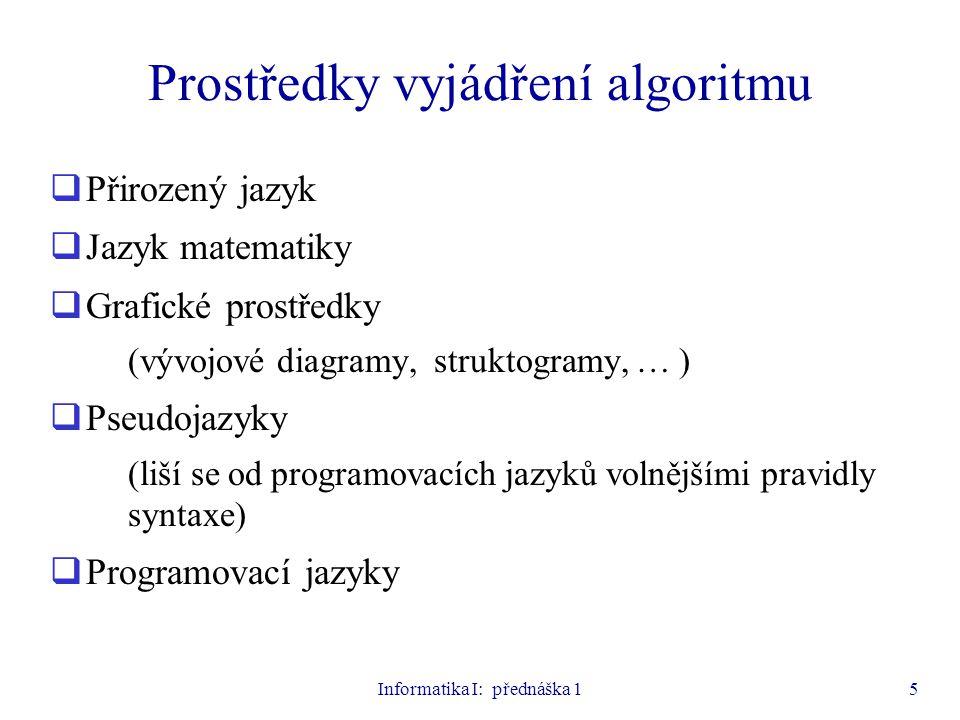 Prostředky vyjádření algoritmu