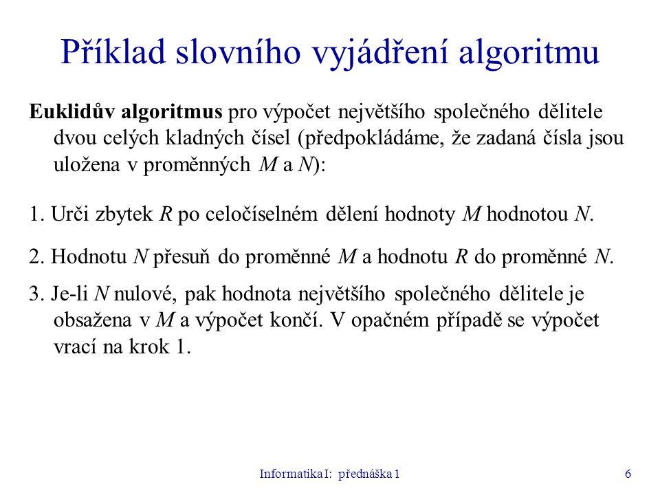 Příklad slovního vyjádření algoritmu
