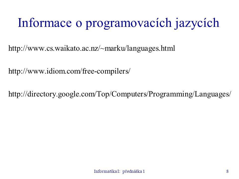 Informace o programovacích jazycích