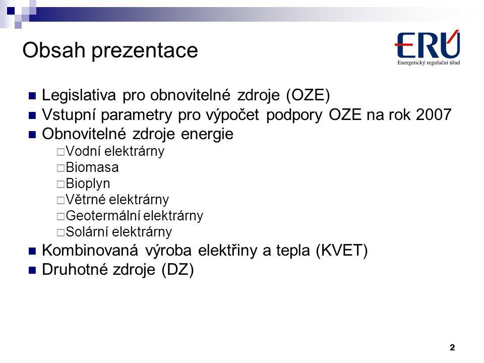 Obsah prezentace Legislativa pro obnovitelné zdroje (OZE)