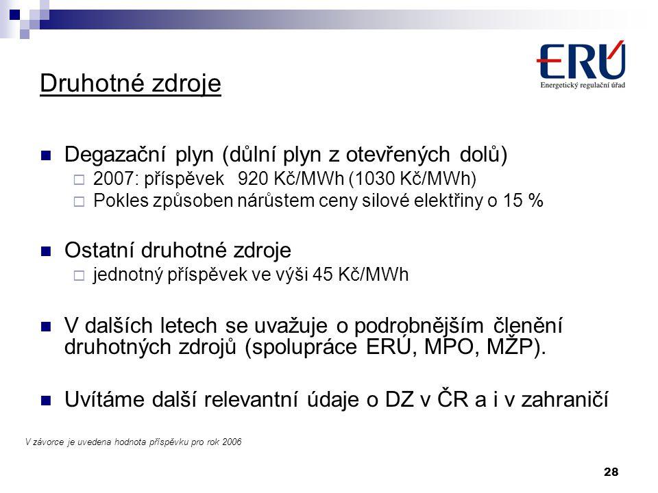 Druhotné zdroje Degazační plyn (důlní plyn z otevřených dolů)