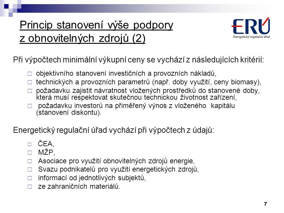 Princip stanovení výše podpory z obnovitelných zdrojů (2)