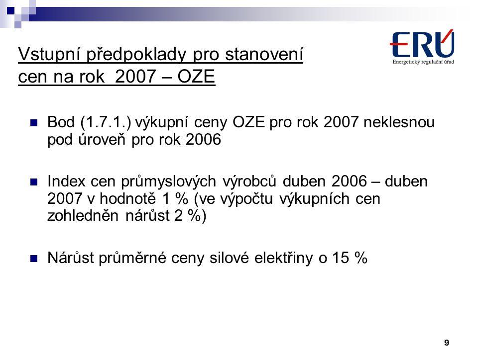 Vstupní předpoklady pro stanovení cen na rok 2007 – OZE