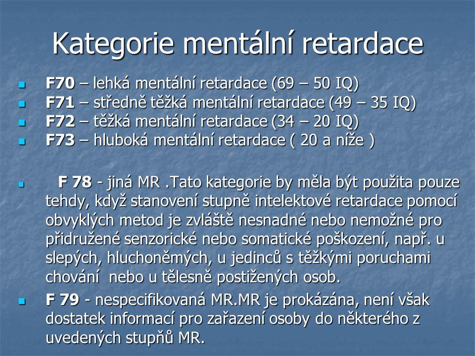 Kategorie mentální retardace