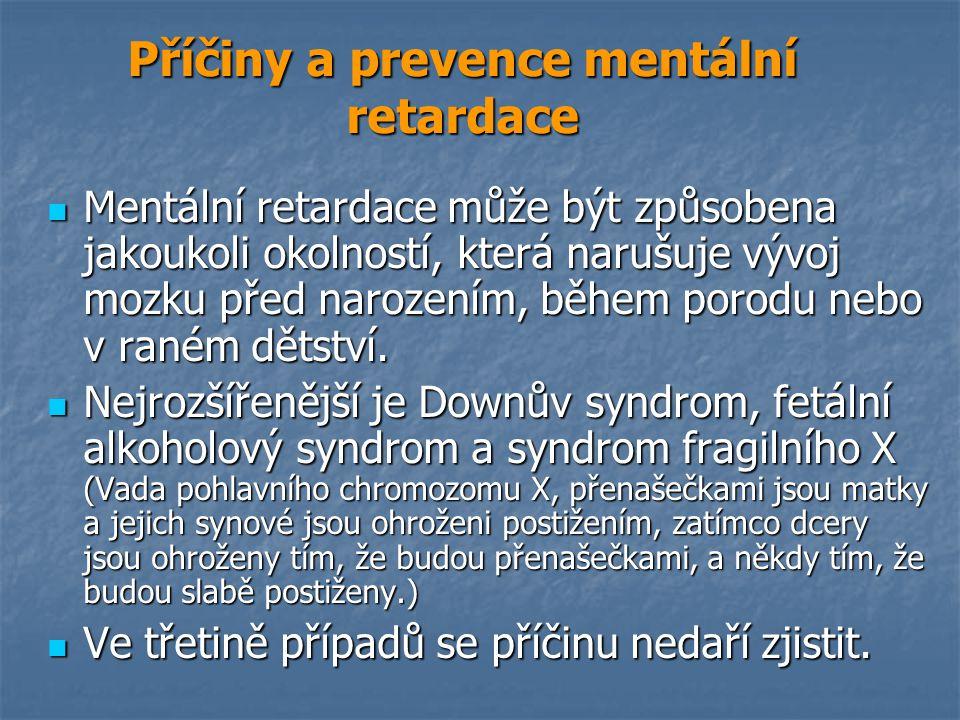 Příčiny a prevence mentální retardace