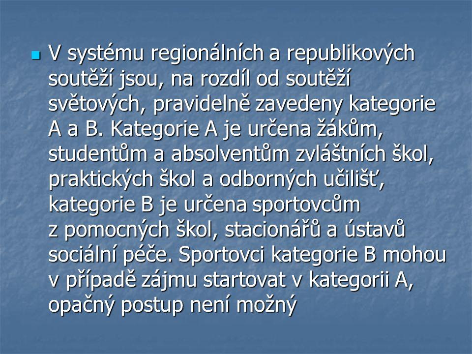 V systému regionálních a republikových soutěží jsou, na rozdíl od soutěží světových, pravidelně zavedeny kategorie A a B.
