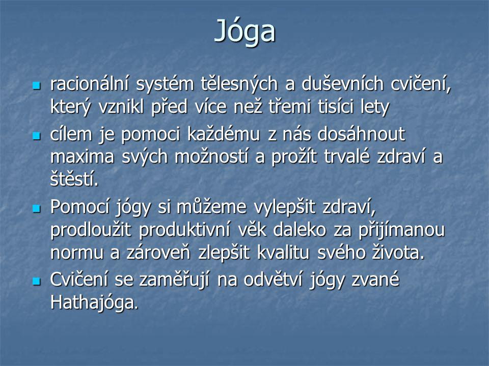 Jóga racionální systém tělesných a duševních cvičení, který vznikl před více než třemi tisíci lety.