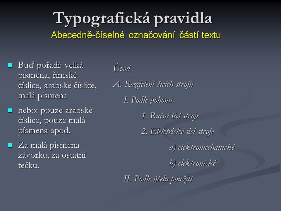 Abecedně-číselné označování částí textu