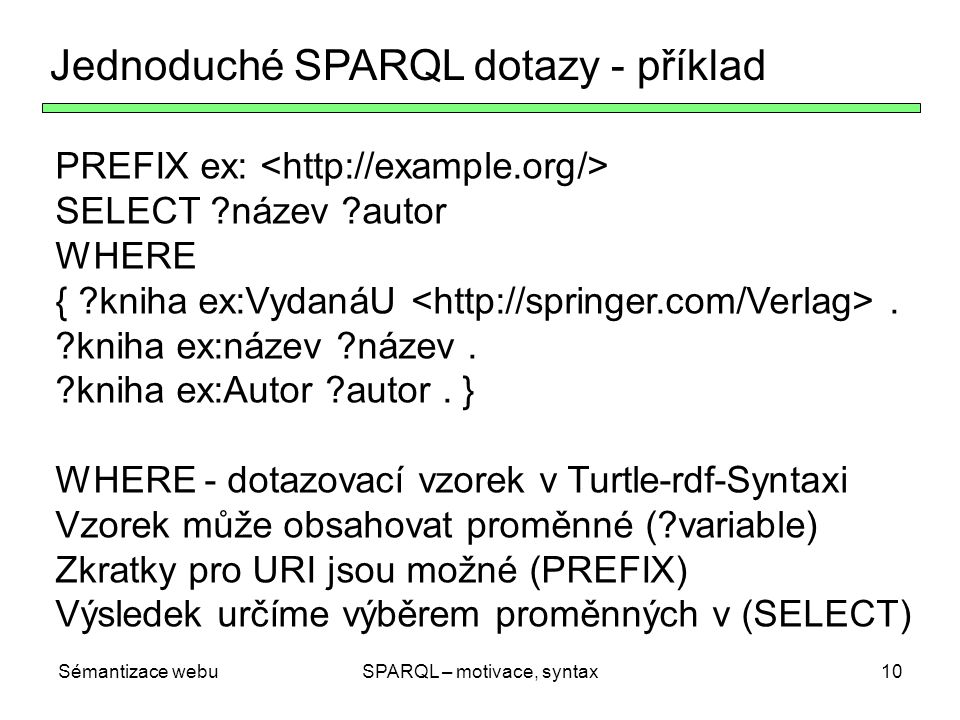 SPARQL – motivace, syntax