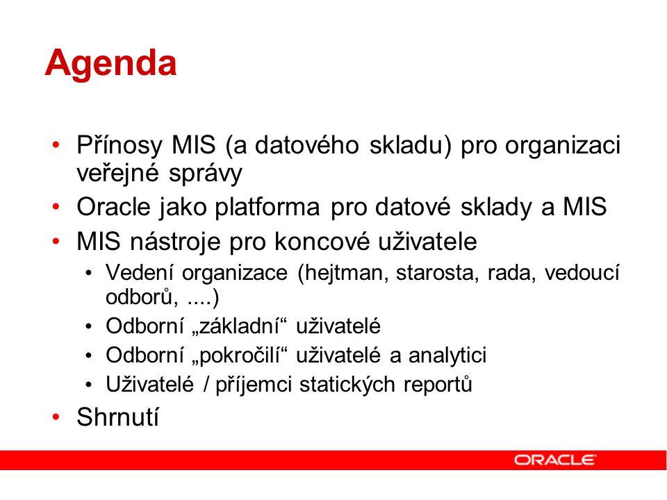 Agenda Přínosy MIS (a datového skladu) pro organizaci veřejné správy