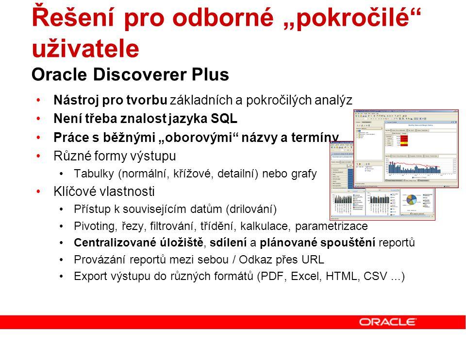 """Řešení pro odborné """"pokročilé uživatele Oracle Discoverer Plus"""