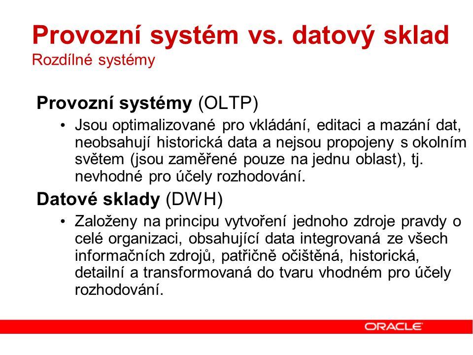Provozní systém vs. datový sklad Rozdílné systémy