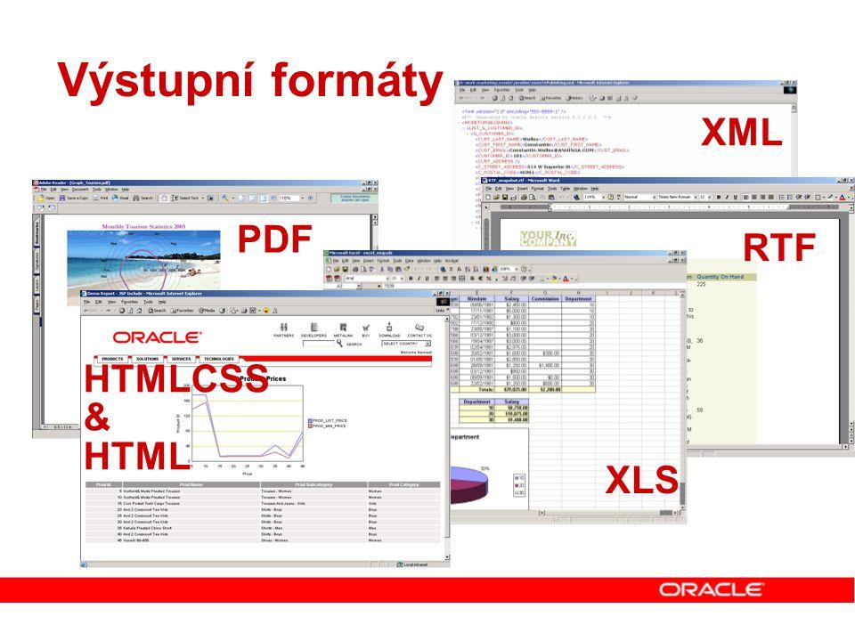 Výstupní formáty XML PDF RTF HTMLCSS & HTML XLS