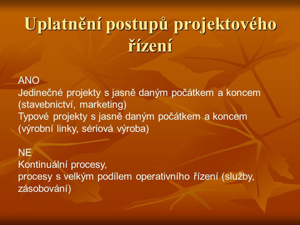 Uplatnění postupů projektového řízení