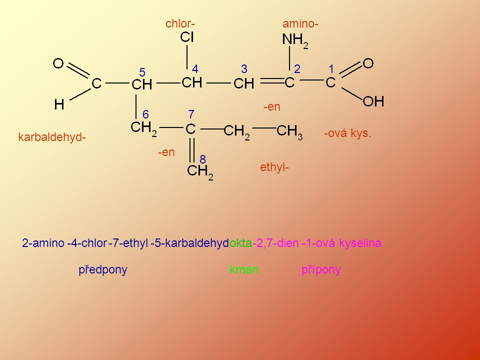 chlor- amino- 4. 3. 2. 1. 5. -en. 6. 7. -ová kys. karbaldehyd- -en. 8. ethyl- 2-amino.