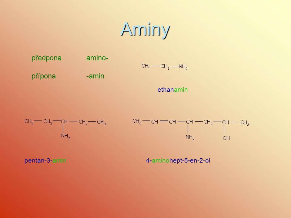 Aminy předpona amino- přípona -amin ethanamin pentan-3-amin