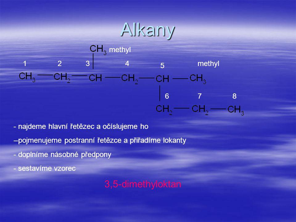 Alkany 3,5-dimethyloktan methyl 1 2 3 4 methyl 5 6 7 8