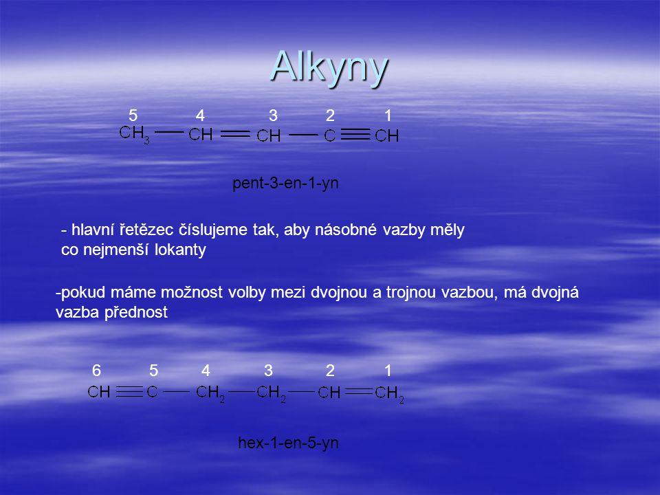 Alkyny 5. 4. 3. 2. 1. pent-3-en-1-yn. hlavní řetězec číslujeme tak, aby násobné vazby měly co nejmenší lokanty.