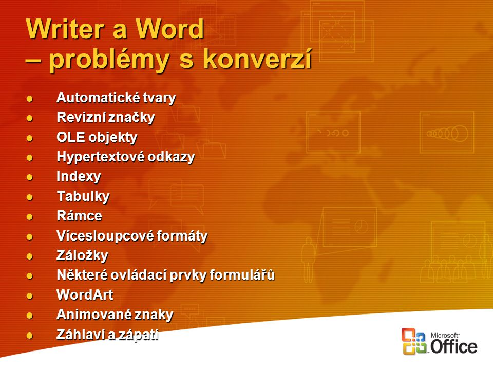 Writer a Word – problémy s konverzí