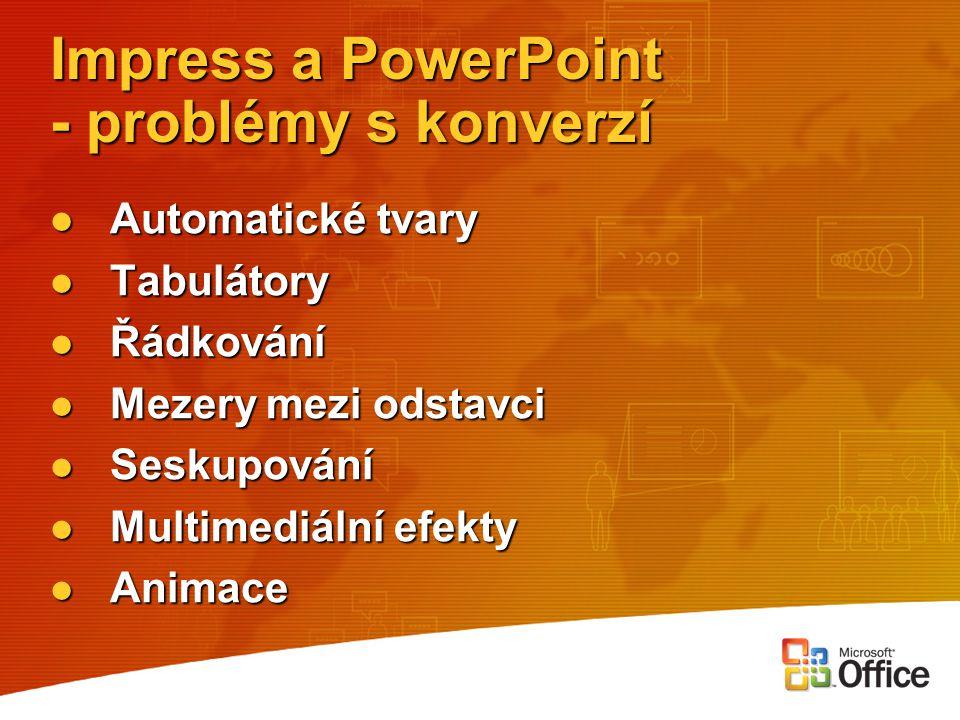 Impress a PowerPoint - problémy s konverzí