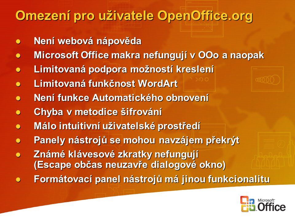 Omezení pro uživatele OpenOffice.org