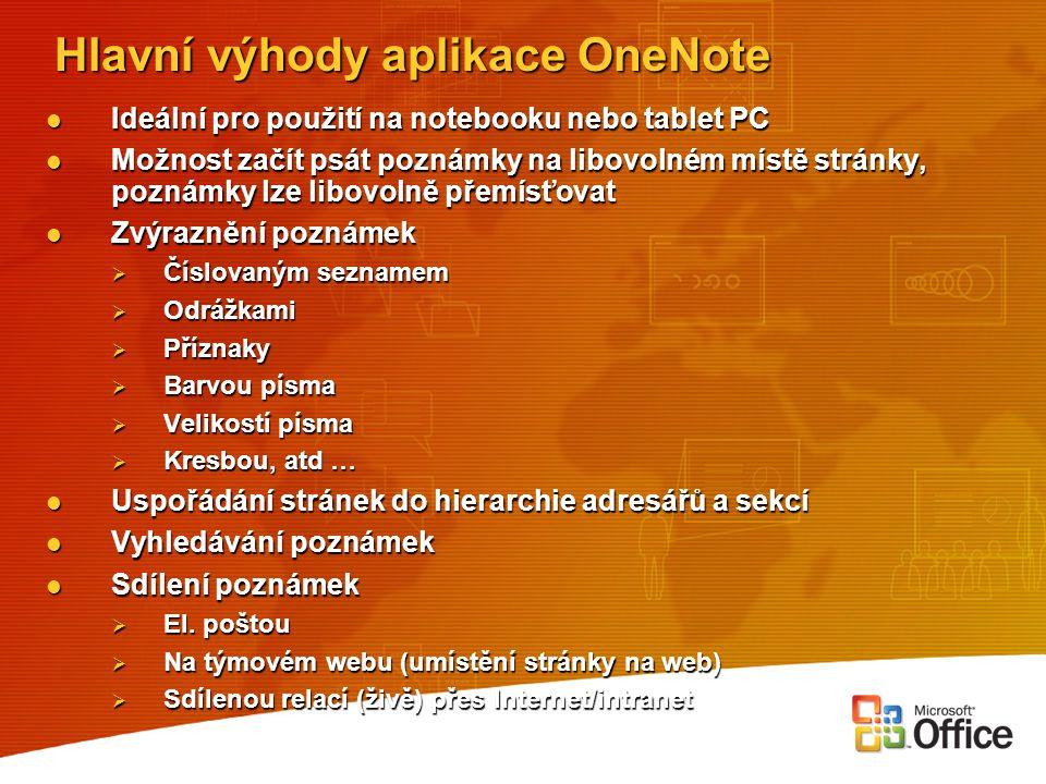 Hlavní výhody aplikace OneNote