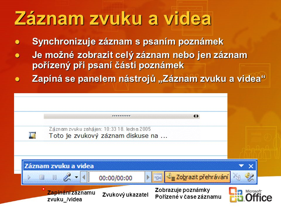 Záznam zvuku a videa Synchronizuje záznam s psaním poznámek