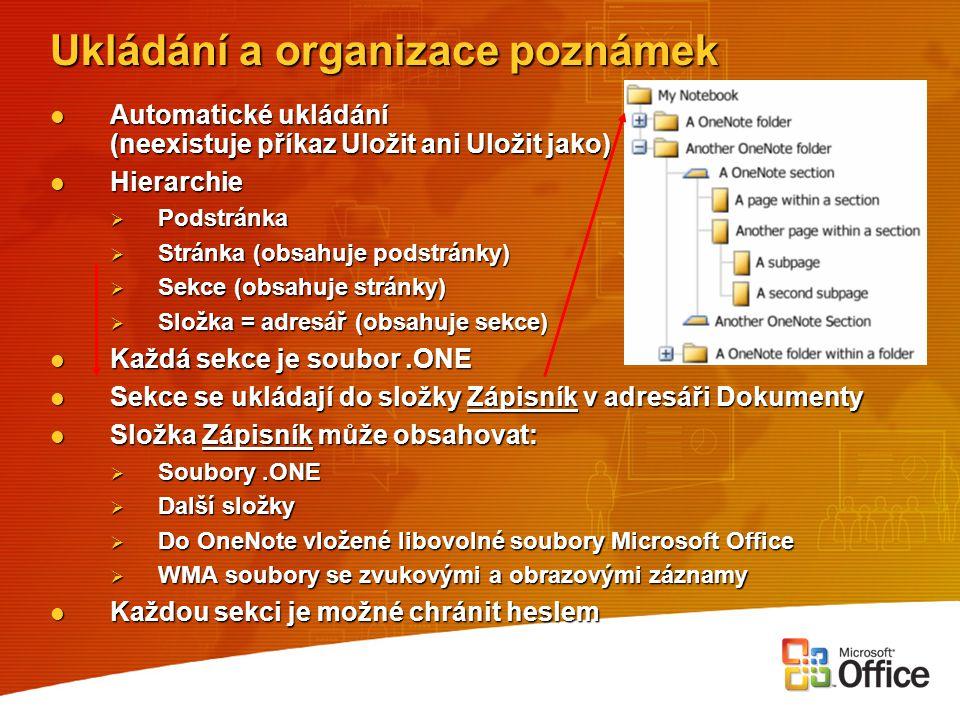 Ukládání a organizace poznámek