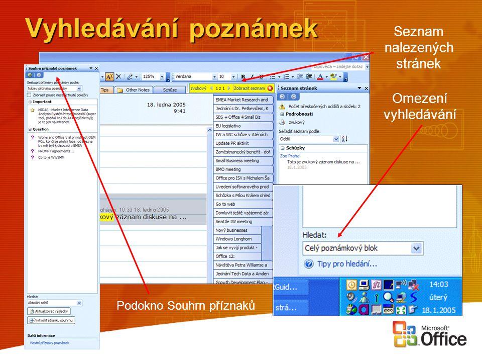 Vyhledávání poznámek Seznam nalezených stránek Omezení vyhledávání