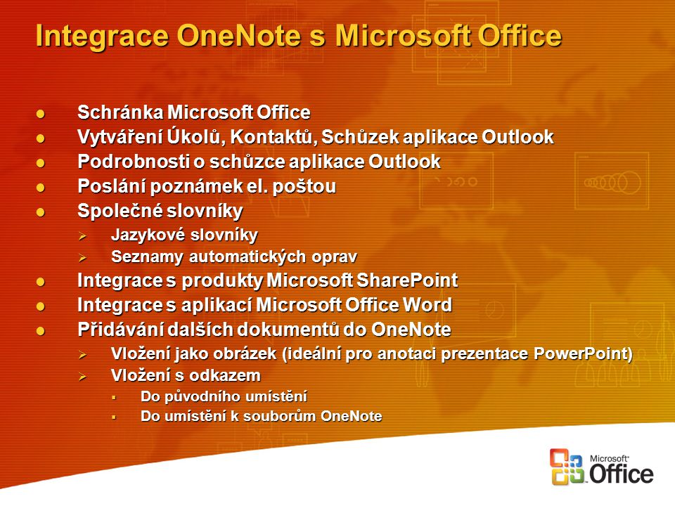 Integrace OneNote s Microsoft Office
