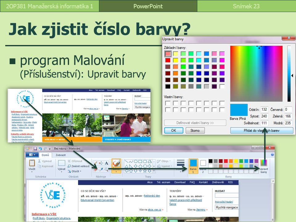 Jak zjistit číslo barvy