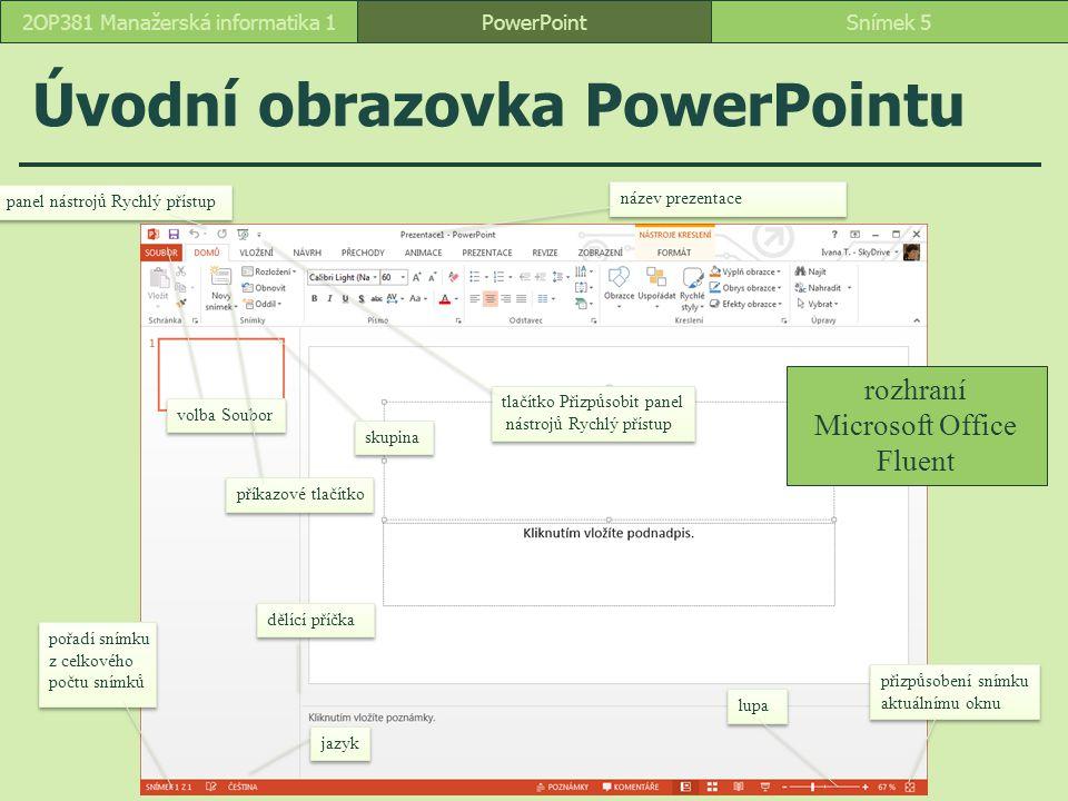 Úvodní obrazovka PowerPointu