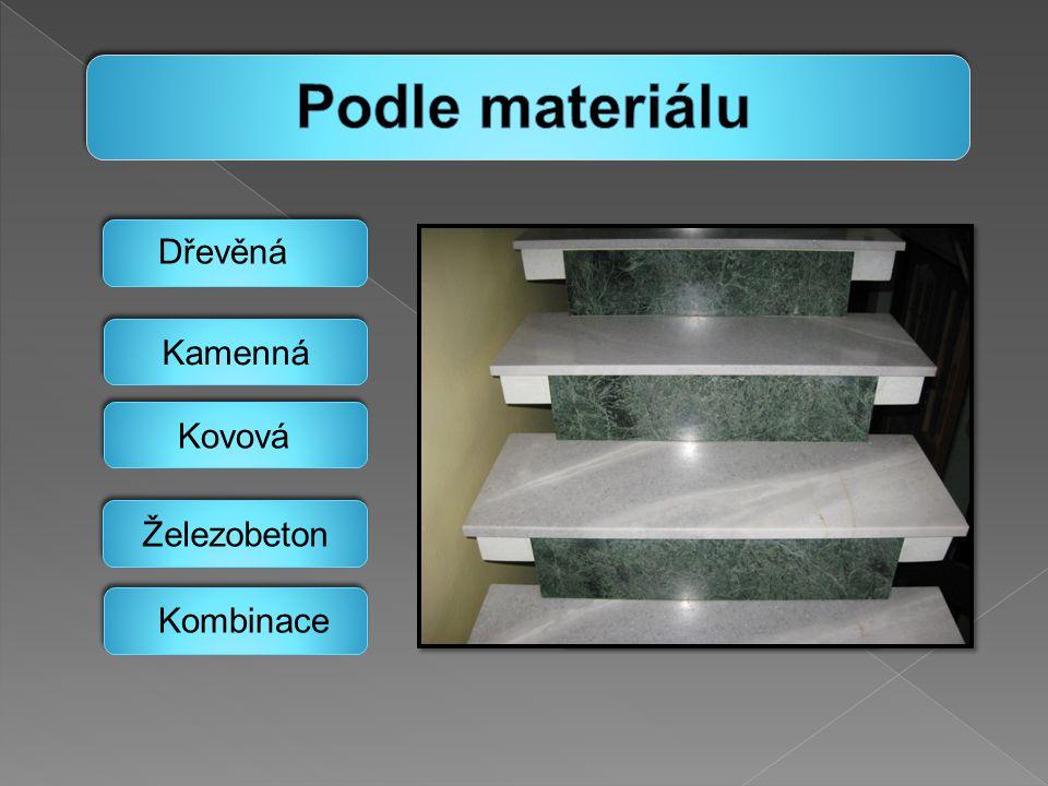 Podle materiálu Dřevěná Kovová Kombinace Kamenná Železobeton