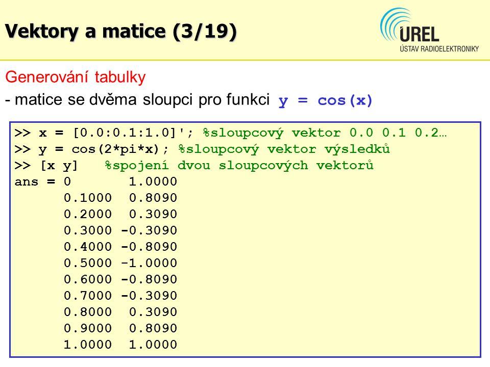 Vektory a matice (3/19) Generování tabulky
