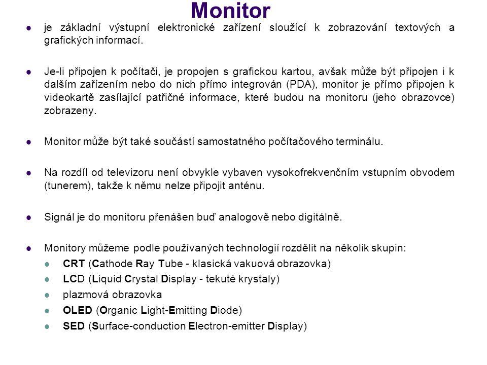 Monitor je základní výstupní elektronické zařízení sloužící k zobrazování textových a grafických informací.