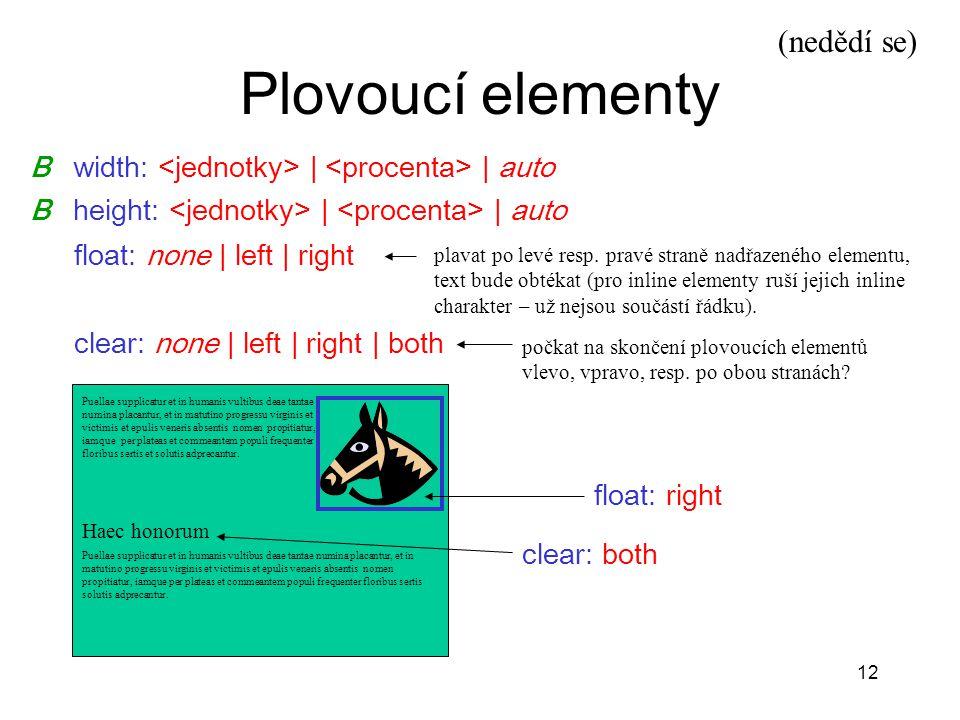 Plovoucí elementy (nedědí se) B