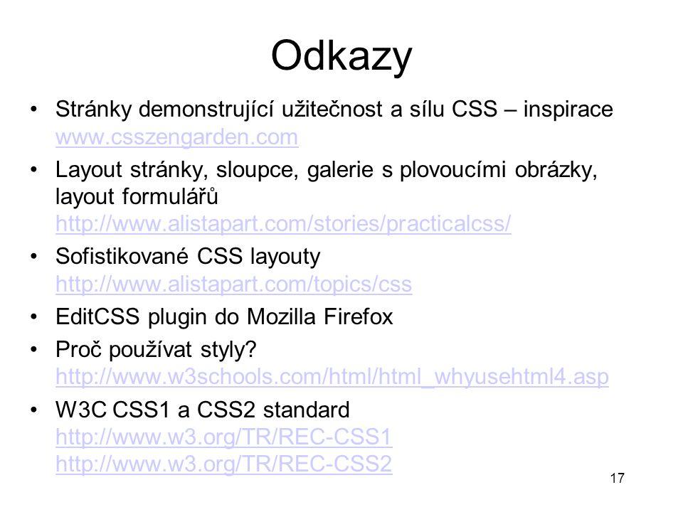 Odkazy Stránky demonstrující užitečnost a sílu CSS – inspirace www.csszengarden.com.