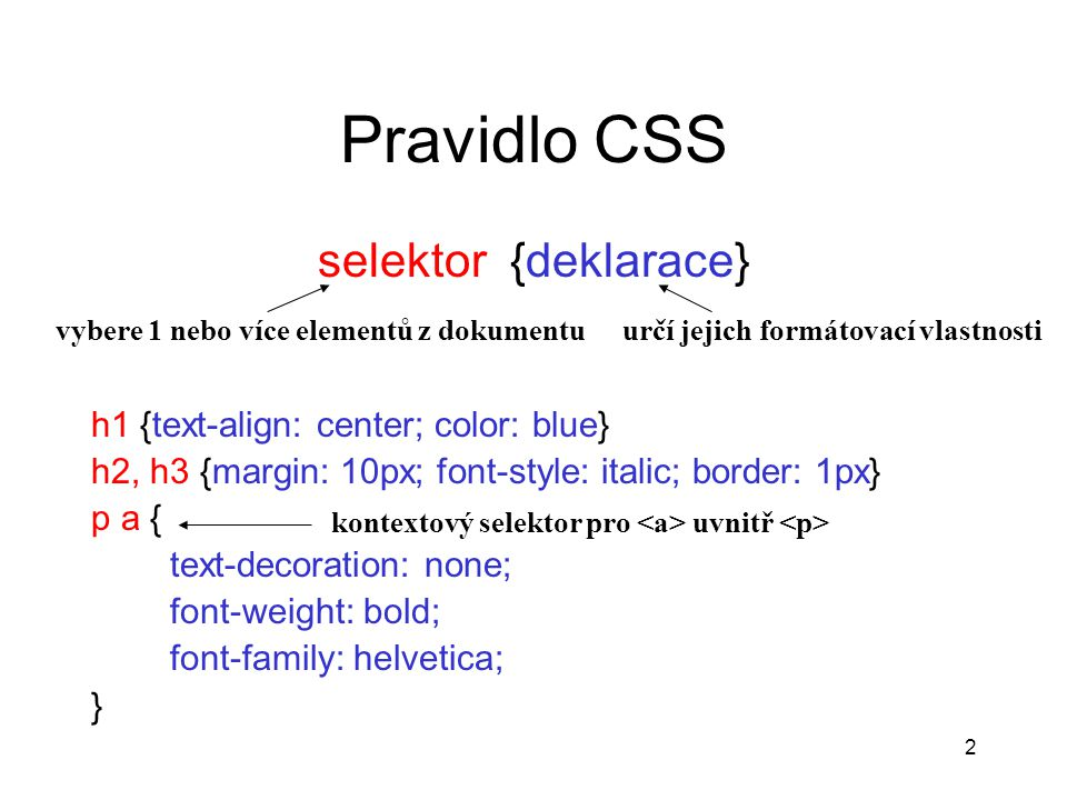 Pravidlo CSS selektor {deklarace} h1 {text-align: center; color: blue}