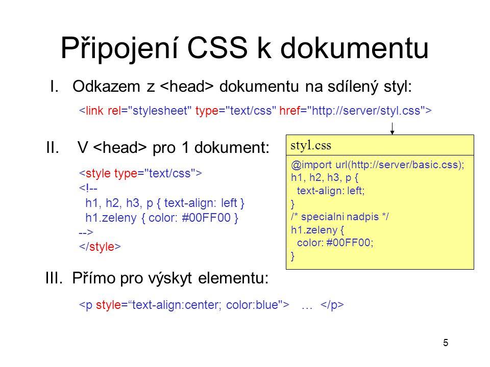 Připojení CSS k dokumentu