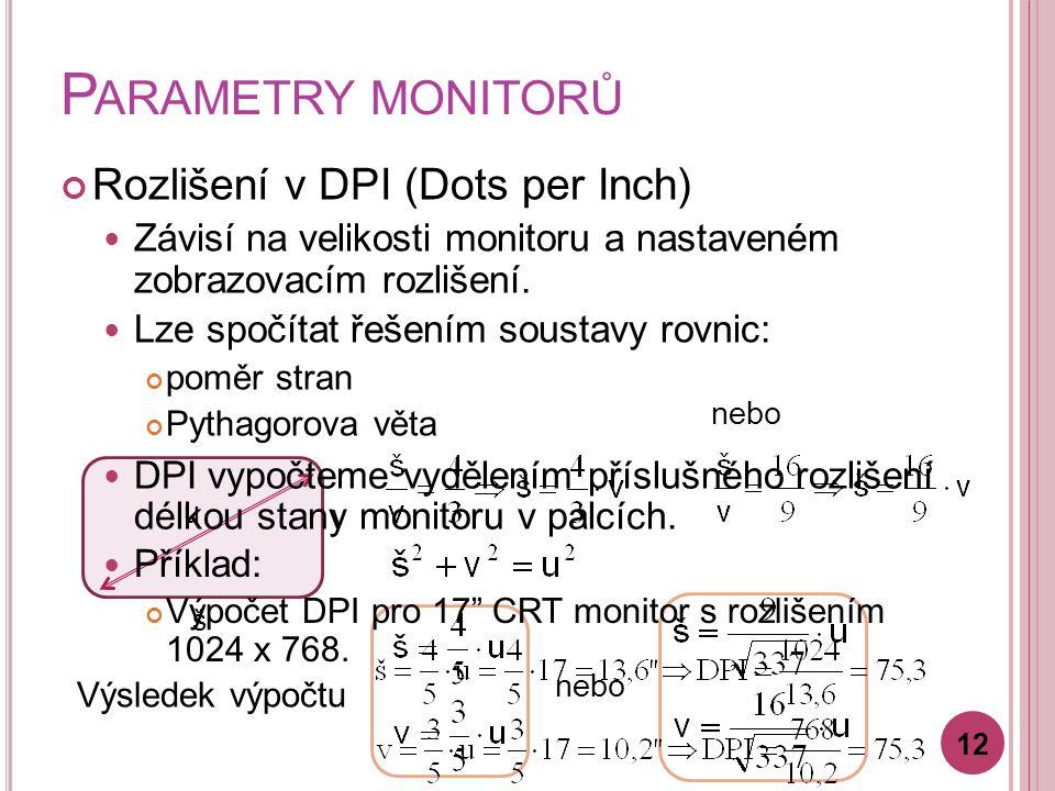 Parametry monitorů Rozlišení v DPI (Dots per Inch)