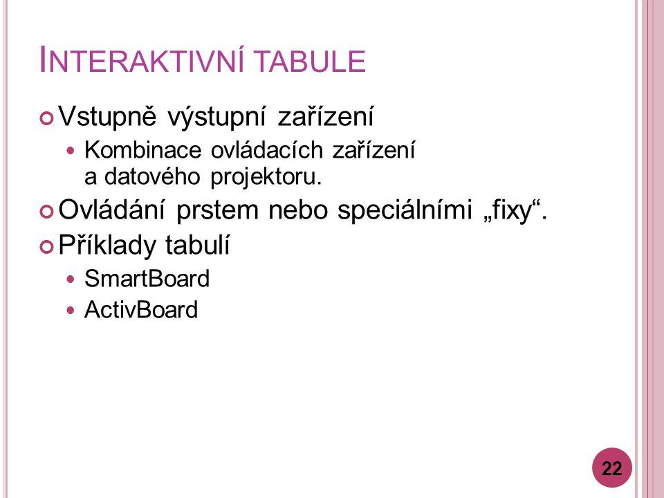 Interaktivní tabule Vstupně výstupní zařízení
