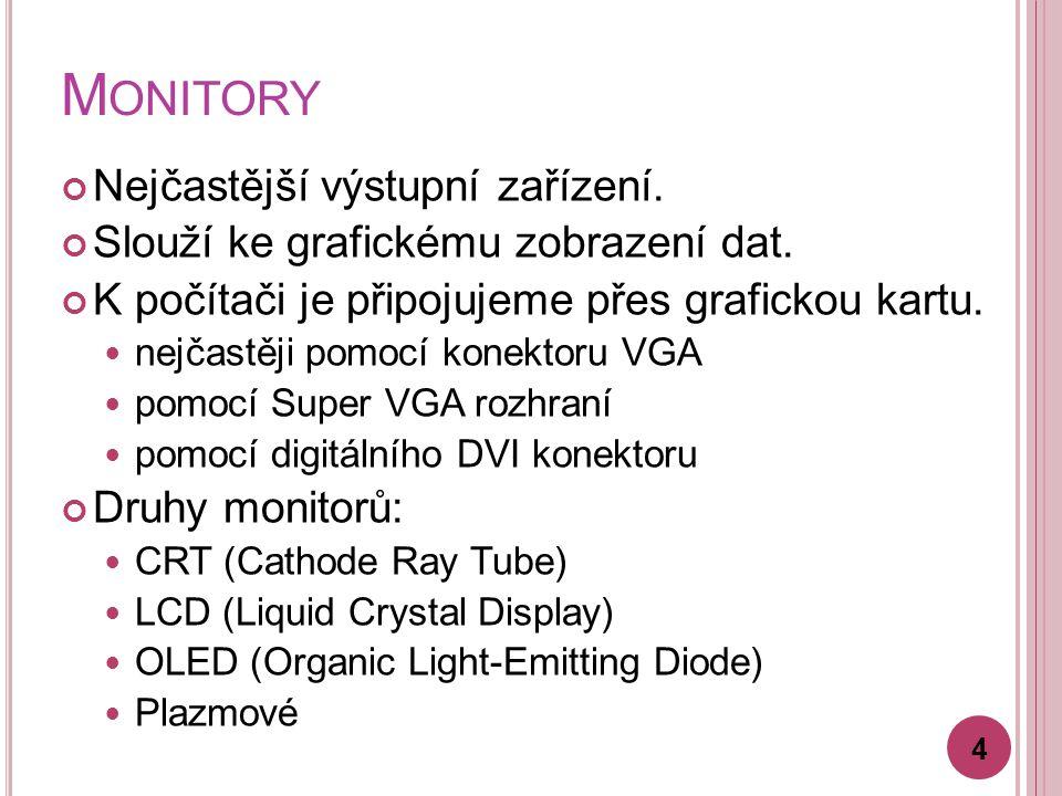 Monitory Nejčastější výstupní zařízení.