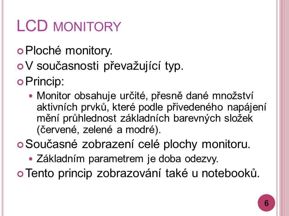 LCD monitory Ploché monitory. V současnosti převažující typ. Princip: