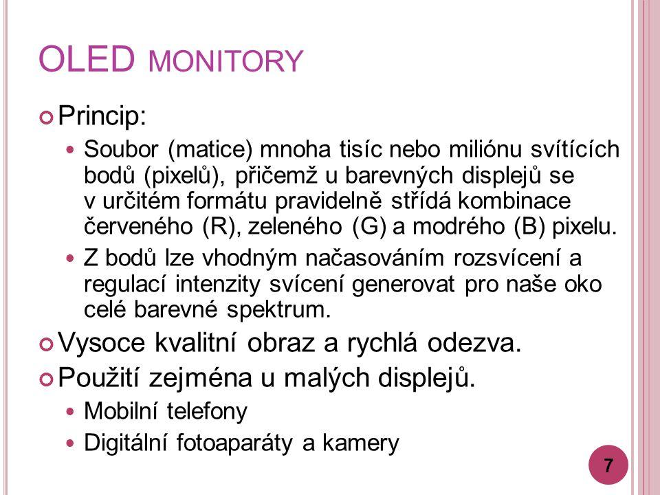 OLED monitory Princip: Vysoce kvalitní obraz a rychlá odezva.