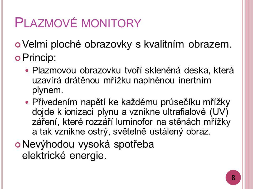 Plazmové monitory Velmi ploché obrazovky s kvalitním obrazem. Princip: