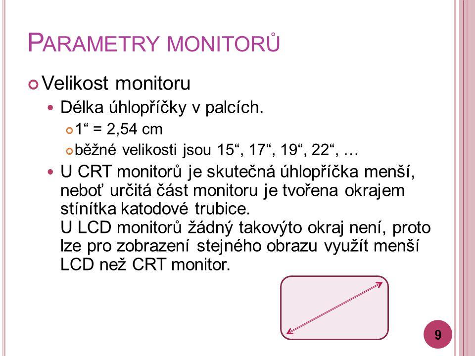 Parametry monitorů Velikost monitoru Délka úhlopříčky v palcích.