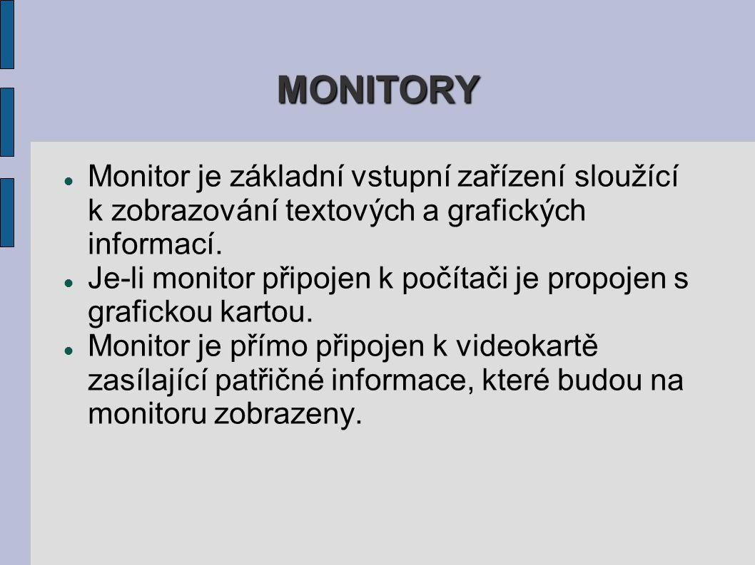 MONITORY Monitor je základní vstupní zařízení sloužící k zobrazování textových a grafických informací.