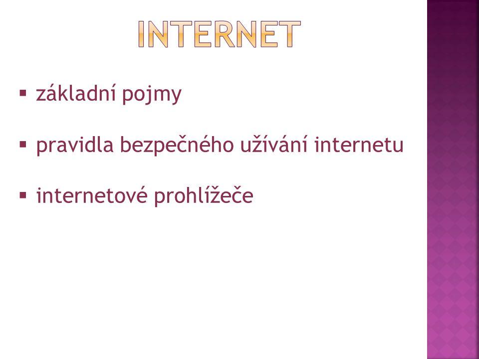 INTERNET základní pojmy pravidla bezpečného užívání internetu