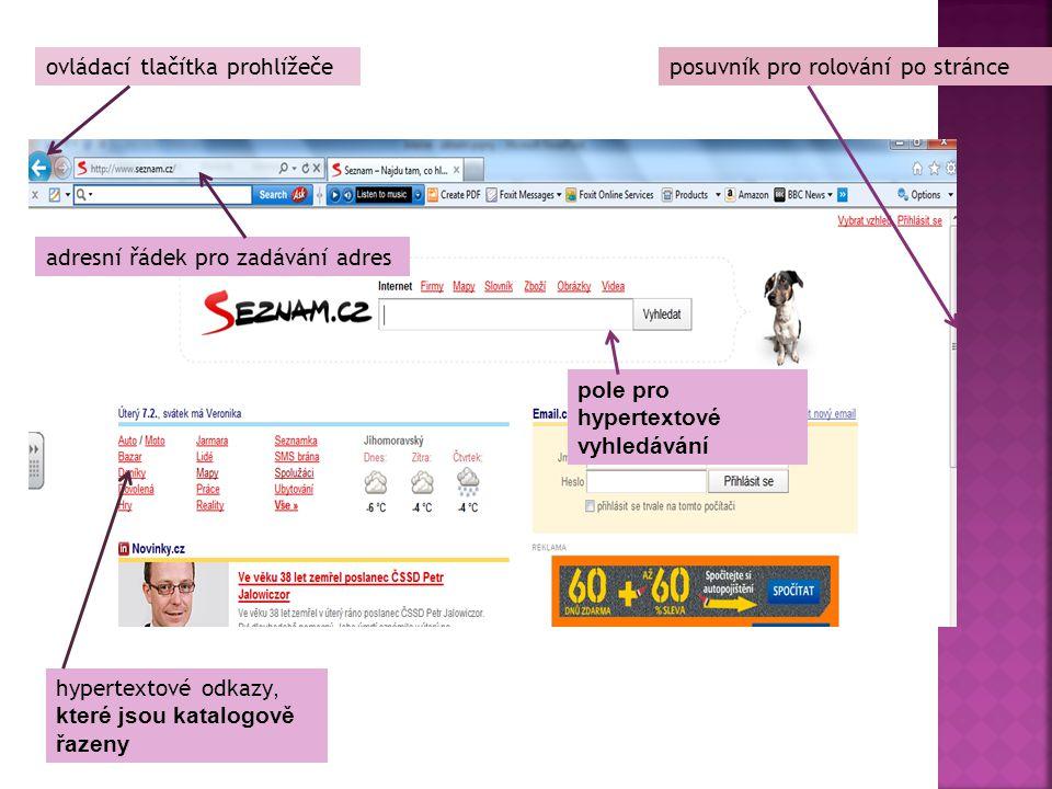ovládací tlačítka prohlížeče